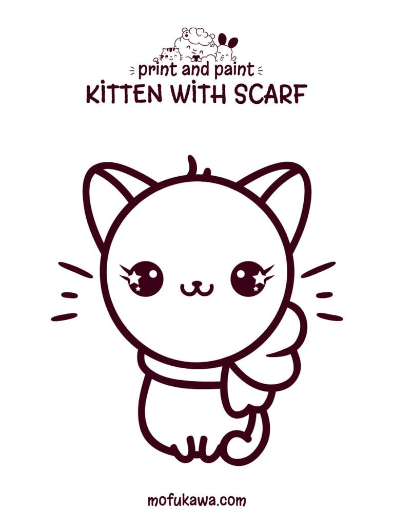 Kawaii Cat With Scarf Coloring Page