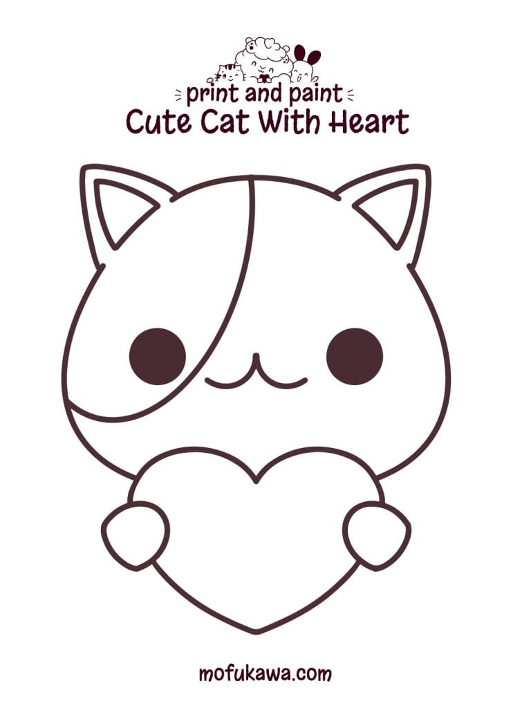 Cute Cat With Heart Coloring Page