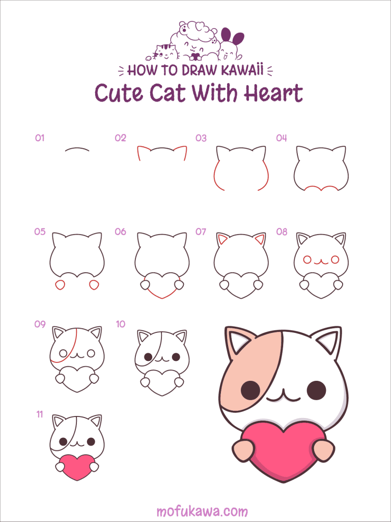 How To Draw Cute Cat With Heart - Step by Step