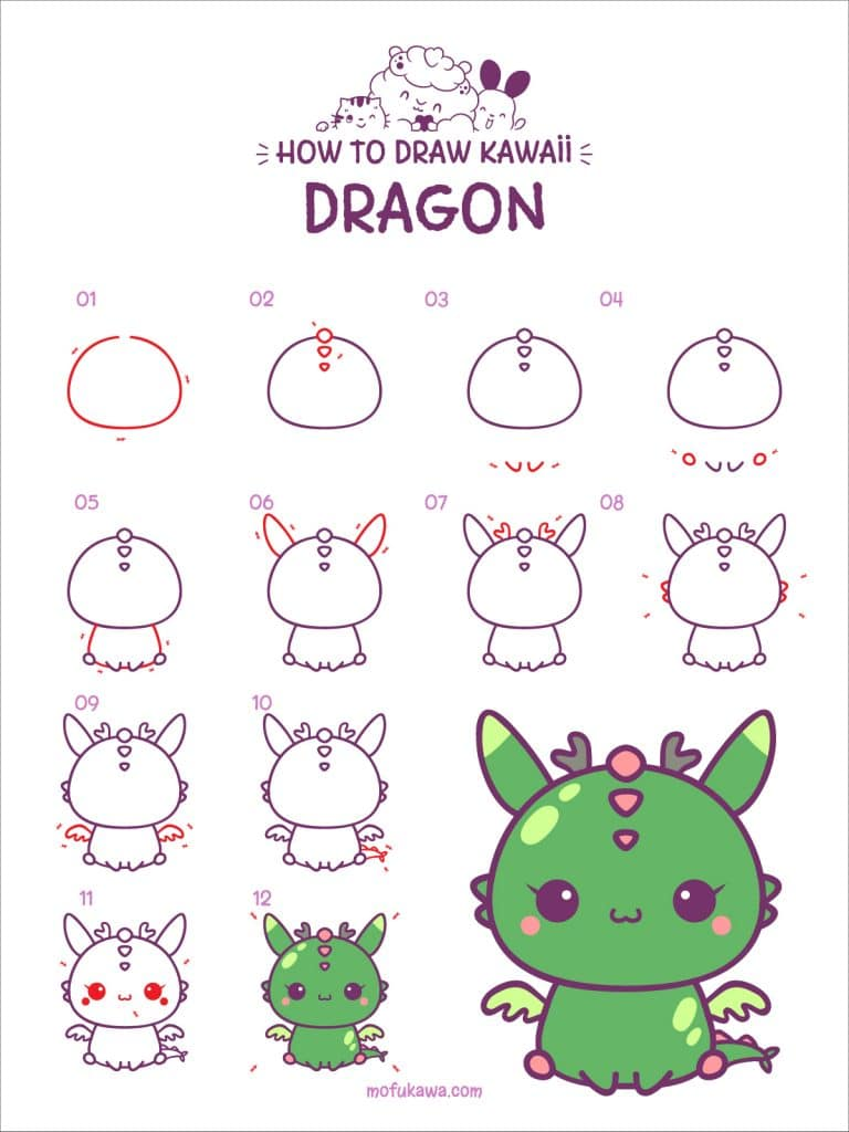 How To Draw A Cute Dragon Step by Step