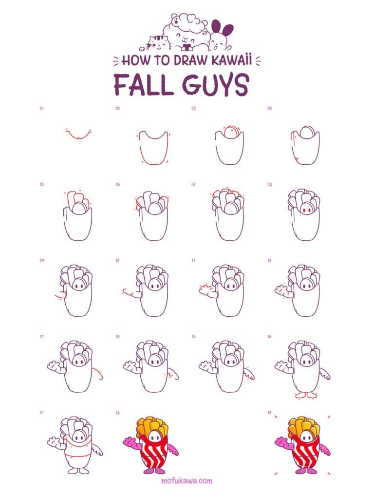 How To Draw Fall Guys Step By Step