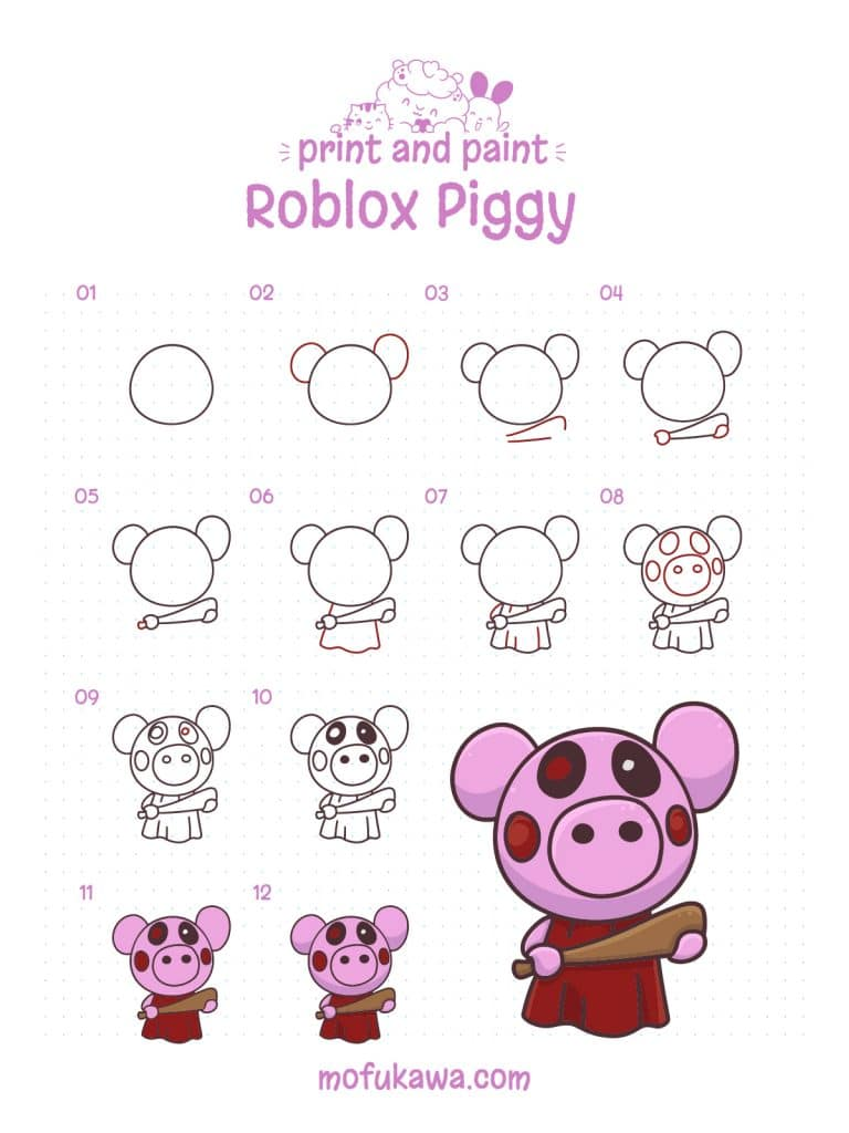 How To Draw Roblox Piggy