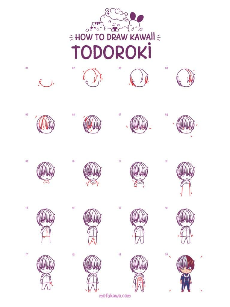 How To Draw Todoroki Shoto Step by Step