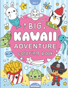 mofukawa big kawaii adventure coloring book cover