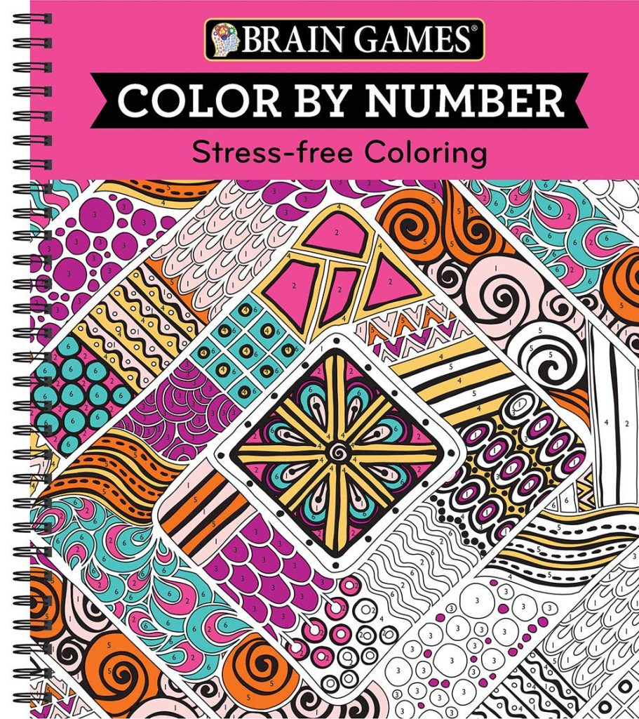 Brain Games Color By Number Stress Free Coloring Pink