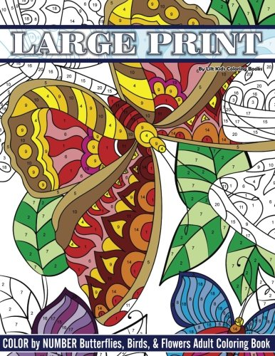Lilt Kids Coloring Book Large Print Color By Number Butterflies, Birds, and Flowers